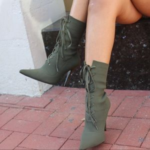Khaki Lace Up Knit Ankle Heel Booties